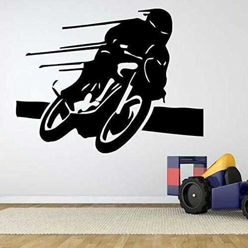 AGjDF Motorradjacke Wandaufkleber Motorradfahrer Racing, Jungen Vinyl Wandaufkleber Familie Kinder Poster Raumdekoration42x33cm