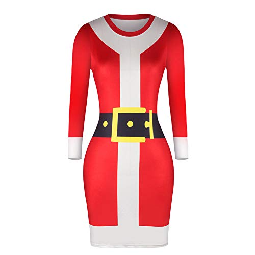 Christmas Dress for Women FEDULK Santa Claus Print Long Sleeve Bodycon Ladies Midi Dress (Red1, US Size L = Tag XL)