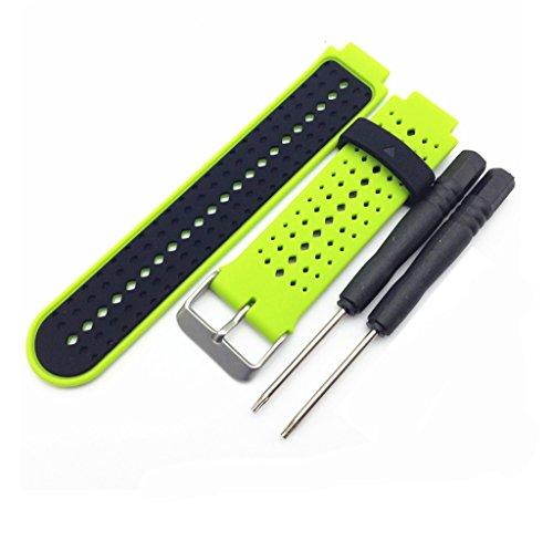 Happyit 22 mm Correa de Reloj para Garmin Forerunner 235 Smart Wacth Pulsera de Silicona Suave de Repuesto con Herramientas de Instalación (Verde + negro)