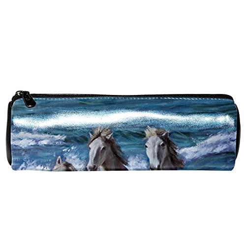 The Sea - Estuche para lápices de pintura al óleo con tres caballos, bolsa de almacenamiento, organizador de cosméticos para la escuela, adolescentes, niñas, niños, hombres y mujeres