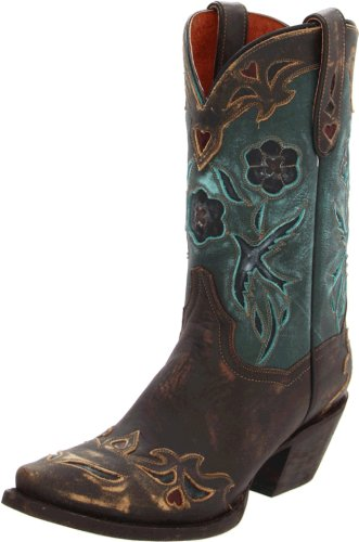 Dan Post Women's Blue Bird Sanded Chocolate/Teal Blue bird Boot 8.5 B - Medium