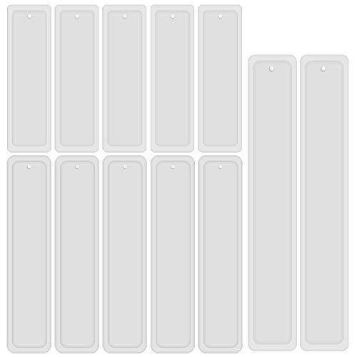 SIMUER 12 Teile/Satz Rechteck Silikon Lesezeichen Form, DIY Lesezeichen Formherstellung Epoxidharz Schmuck DIY Handwerk Silikon Transparente Form Lesezeichen Casting - DREI Größen