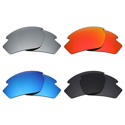 Mryok 4 Paar polarisierte Ersatzgläser für Rudy Project Rydon Sonnenbrillen – Stealth Black/Fire Red/Ice Blue/Silver Titanium