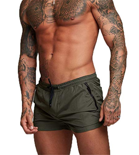 Kfnire Bañadores de natación, Pantalones Cortos de los Hombres de Secado rápido Playa Surf Corriendo Pantalones Cortos de natación Boxeadores Ligero Shorts (EU M=Tag L, Verde)
