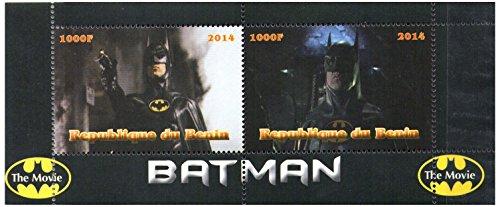 Scene di Batman The Movie - perforata foglietto di 2 francobolli che caratterizzano la Marvel Hero - Republique du Benin / 2014 secondi valori / MNH