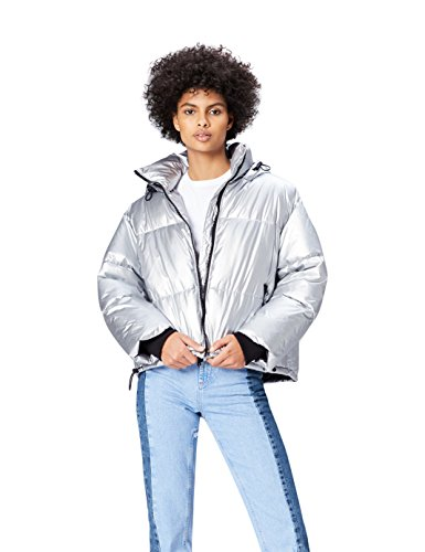 Amazon-Marke: find. Damen Silberne Puffa Steppjacke, Silber (Silver), 40, Label: L