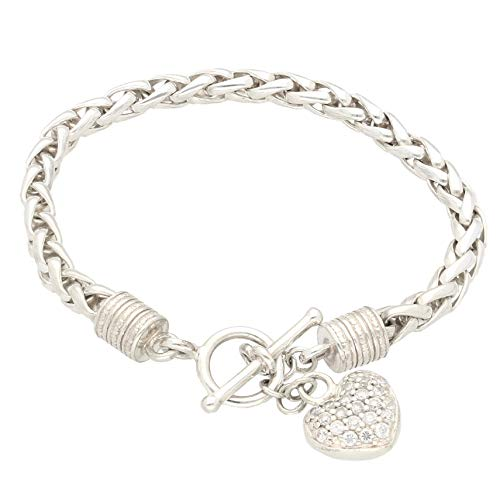 Jollys Jewellers Women's Sterling Silver 7.5' Fancy Bracelet w/T-Bar & Simulated Diamond Heart Charm