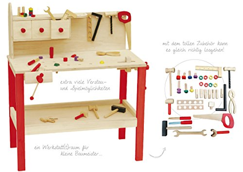 roba Werkbank, grosse Spielwerkbank aus Holz, Meister-Werkbank mit umfangreichem Werkzeug Set, grosser Arbeitsplatte, Ablage u, 3 Schubfächern - 8