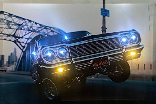 Samarkand-Lights LED-Bild mit Beleuchtung LED- Bilder Leinwandbild 65 x 45 cm Leuchtbild US CAR/Muscle CAR/Low Rider