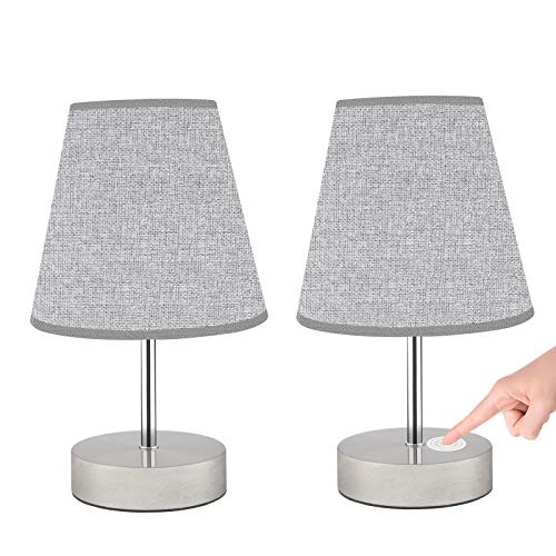 Lámpara Mesilla Noche Táctil, Lovebay Lámpara de Mesa Táctil Retro Lámpara de Noche Blanco Cálido Regulable de 3 Niveles 2pcs Gris para Dormitorio, Habitación Infantil