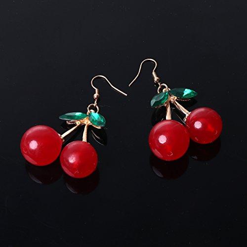 QIANGU Pendientes de moda, de resina dulce y dorada, con diseño de hojas verdes frescas y hojas rojas de cerezo