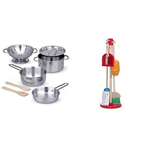 Melissa & Doug Stainless Steel Pots & Pans Play Set & Dust! Sweep! Mop! (Frustration Free Packaging),Multicolor