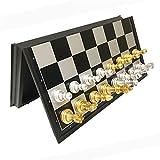 HJUIK Juego de ajedrez juego de ajedrez magnético piezas de ajedrez juego de ajedrez plateado dorado juego de ajedrez plegable tablero de ajedrez de plástico (color: 32 x 32 x 2 cm (M))