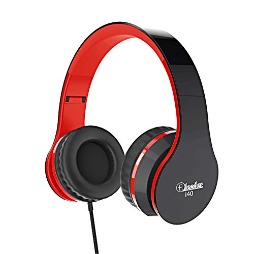 Elecder i40 Headphones with Microphone Foldable Lightweight Adjustable Wired On Ear Headsets with 3.5mm Jack for Cellphones Laptop Computer Smartphones MP3/4 Kindle School (Red/Black)
