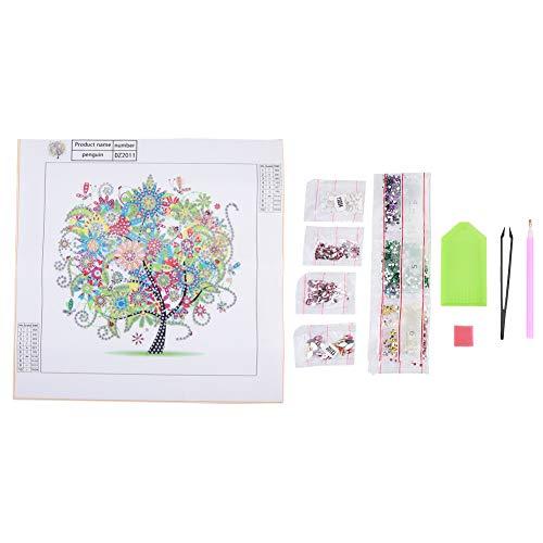 Kits de pintura de diamantes para adultos, 5D DIY Forma especial bordado Four Seasons Tree Full Drill Art, Crystal Diamond Painting Kit, para dormitorio, oficina o tienda(dz2011)