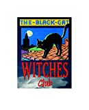 Coole Placa de Metal con diseño de Gato Negro con Texto en inglés The Black Cat Witches Club