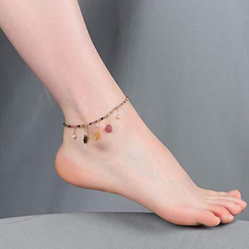 LIUL Pulsera de Tobillera de Perlas de turmalina Real Vintage, Pulsera dePierna para Mujer,Regalo de joyería dePlaya Bohemia