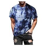 YANFANG Blusa Superior De Camiseta Manga Corta Estampada Informal Ajustada Verano para Hombre,Print tee Hombre, Hombre PoliéSter,2-Azul,XXL