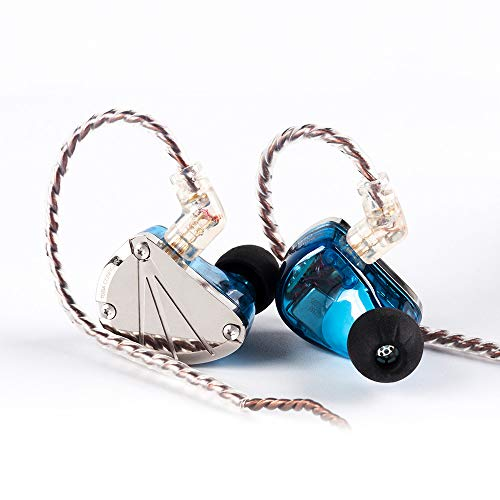 KB Ear KB10 in Ear Monitor 5 Balanced Armature IEM Headphone High Resolution Balanced Mids for Vocalist Singer with Detachable 2 Pin Earphone Cable (No Microphone, Silver Blue)