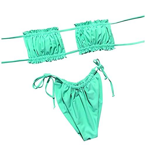Ducomi Mik Costume da Bagno Donna 2 Pezzi, Reggiseno Fascia Volant e Mutande Brasiliana Regolabili - Bikini Fru Fru Spiaggia Imbottito Mare Coordinato e Sexy per Ragazza (Green, L)