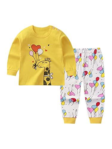 ZYBC Conjunto de pijama de Navidad para niños de 0 a 5 años, 100 % algodón, diseño de reno