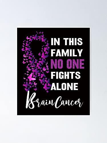 Situen Póster de In This Family None Fights Alone Brain C.a.n.c.e.r – para decoración de sala de juegos, imprimibles para niños, arte de la pared del vivero, decoración de habitación para imprimir.