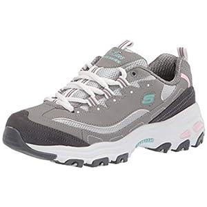 Skechers Women's D'Lites Sneaker, GYLP=Gray Light Pink, 7.5