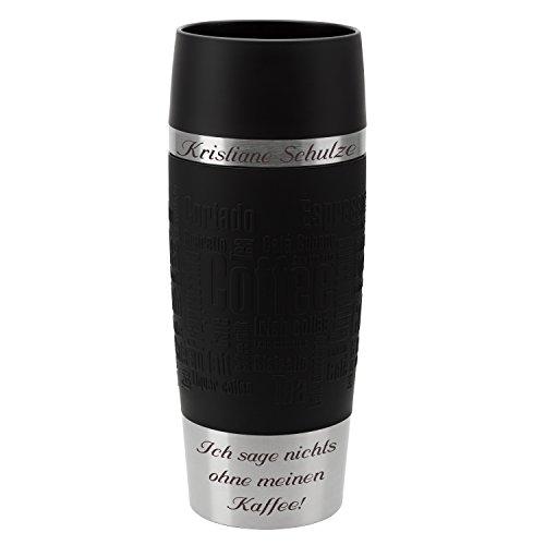 Emsa Thermobecher Travel Mug Schwarz 360 ml mit persönlicher Rund-Gravur gelasert Edelstahl Soft-Touch-Manschette Quick Express Verschluss