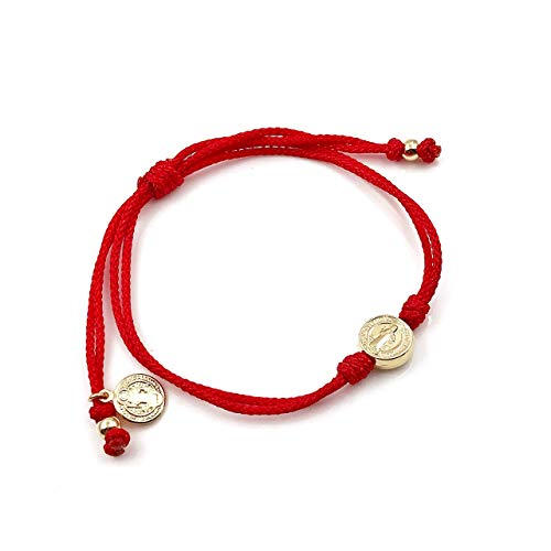 St Benedict Coin Medal on Adjustable Red Cord Wrist Adjustable Bracelet