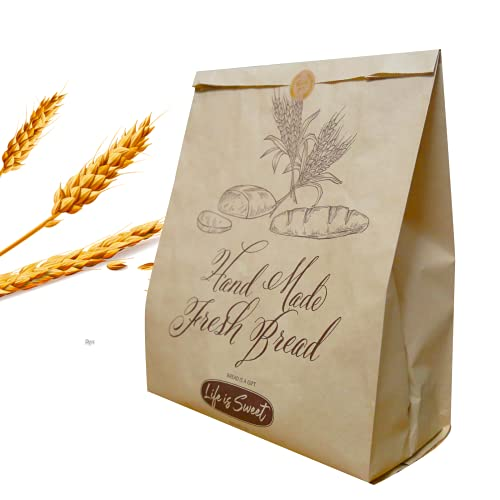 50 Pack 13.8 X 9.5 Inch Kraft Paper Bread Bags for Homemade Bread, Large Paper Bakery Bags for Bread Loaves, Eco Friendly Bread Packaging Storage Loaf Bags for Home Kitchen Bakery.