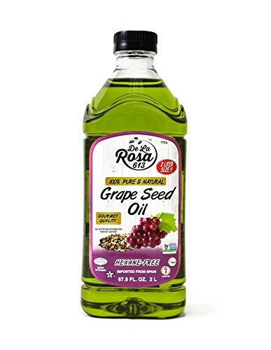 100% Pure & Natural Non-GMO Grape Seed Oil - De La Rosa 67.6oz - Expeller Pressed, Hexane-Free, Vegan, Gluten-Free & Kosher (For Passover)   Excellent Source of Vitamin E and Essential Fatty Acids!