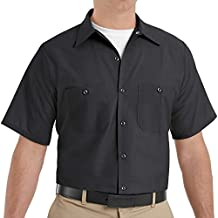 Red Kap Men's Tall Size Industrial Work Shirt, Regular Fit, Short Sleeve, Black, 3X-Large
