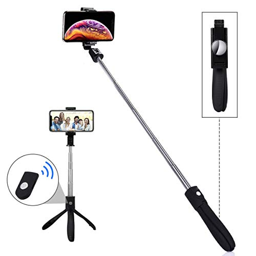 LATEC Treppiede Selfie Stick Bluetooth Estensibile con Telecomando Wireless E Supporto Treppiedi – Bastone Selfie per iPhone/Samsung Galaxy/Note/Huawei per Smartphone con Display Fino a 3,5-6 Pollici