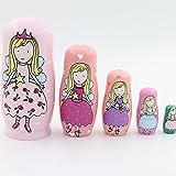 zdz Matryoshka Hecha a Mano, Juego de Juguetes para niños de Madera Maciza de 4,6 Pulgadas de 5 muñecas de anidación Rusa, para el hogar de Navidad, Regalos de cumpleaños (Color : Pink)