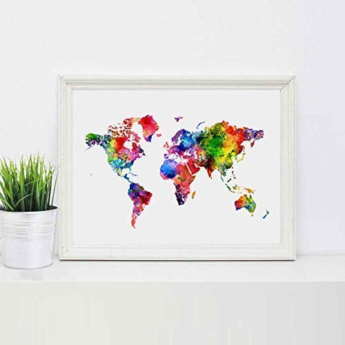 World Map Art Print Watercolor Poster Wall Art World Map Inspiration Map Colorful Print Painting Wall Art Gift Home Decor 8x10inch No Frame