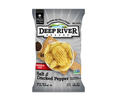 Deep River Snacks Salt & Cracked Pepper Kettle Cooked Potato Chips, 2 Ounce (Pack of 24)