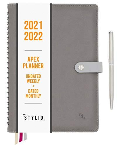 STYLIO Apex Planner 2020 2021 Calendario mensual sin fecha semanal, fechado. Agenda diaria personal organizador para negocios, académico/vida escolar. Objetivos, diario de pasión para profesores y estudiantes universitarios