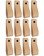 Brute Strength - Leren Handgrepen - Naturel - 12 stuks - 16,5 x 2,5 cm - incl. 3 kleuren schroeven per leren handvat voor keukenkastjes - badkamer – kasten