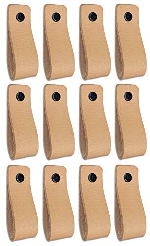 Brute Strength - Tirador de cuero - Natural - 12 piezas - 16,5 x 2,5 cm - incluye tres colores de tornillos por manija de cuero para los gabinetes de cocina - baño - gabinetes