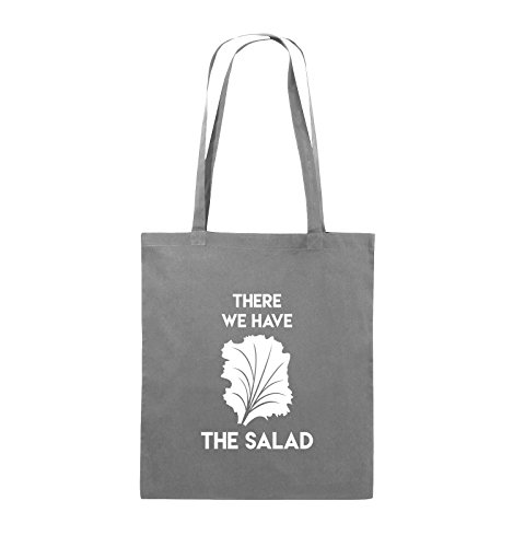 Comedy Bags - There WE Have The Salad - Jutebeutel - Lange Henkel - 38x42cm - Farbe: Dunkelgrau/Weiss