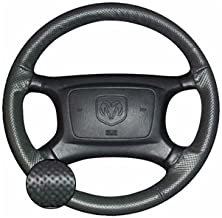 product image for Wheelskins EuroPerf perforated Color style Leather Steering Wheel Cover - Black Non Perforated Top & Bottom and Black Perforated Left & Right Sides, Size: 14 1/4 inches X 4 1/8 inches