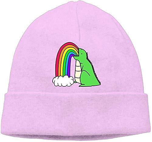 NA Mode Effen Kleur Dinosaur Puke Regenbogen Coltrui Cap voor Unisex Roze
