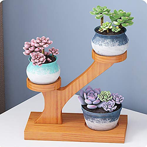 Stylish 3 Tier Round Small Plant Pot Bamboo Stand