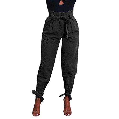 TUDUZ Damen Hosen Elegant High Waist Stretch Skinny Hosen Pants Casual Streetwear Pants Hosen mit Tunnelzug (Schwarz, L)
