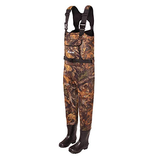 GNNZFL Fishing Chest Wader Attached Rubber Boots Promise You Ice Fishing Warm in Water Leaf camo Body XXXL Feet 47