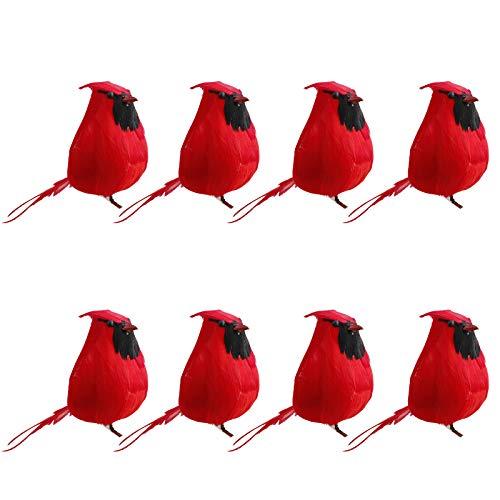 YIPON Artificial Feathered Birds,Artificial Realistic Foam Birds Clip On Christmas Robin Tree Ornament for Indoor Outdoor Garden