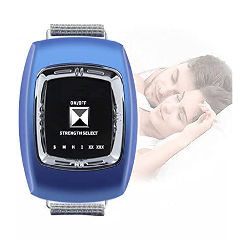 GJXJY Snore Stopper Wristband, Muñequera Antirronquidos Dispositivos, Anti ronquidos Pulsera con 3 Modos y 6 Engranaje Ajustable, USB Recargable Reloj Antirronquidos, 2021 Blue