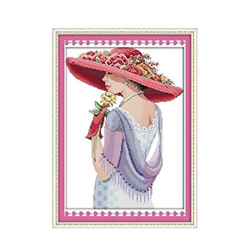 Kit de punto de cruz para mujer de la belleza, 14 quilates, 11 quilates, patrón impreso, bordado, hecho a mano, punto de cruz, hermoso (tejido de punto cruzado, número de CT: 11 ct sin imprimir)