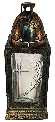 Graflantaarn 32 cm hoog met in reliëf het kruis op transparant glas 320/125/125 inclusief kaars (35 uur)