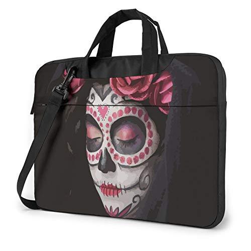 Laptop Messenger Day of The Dead Sugar Skull Shoulder Bag Briefcase Office Laptop Sleeve Case Luggage for Men Women 14 Inch